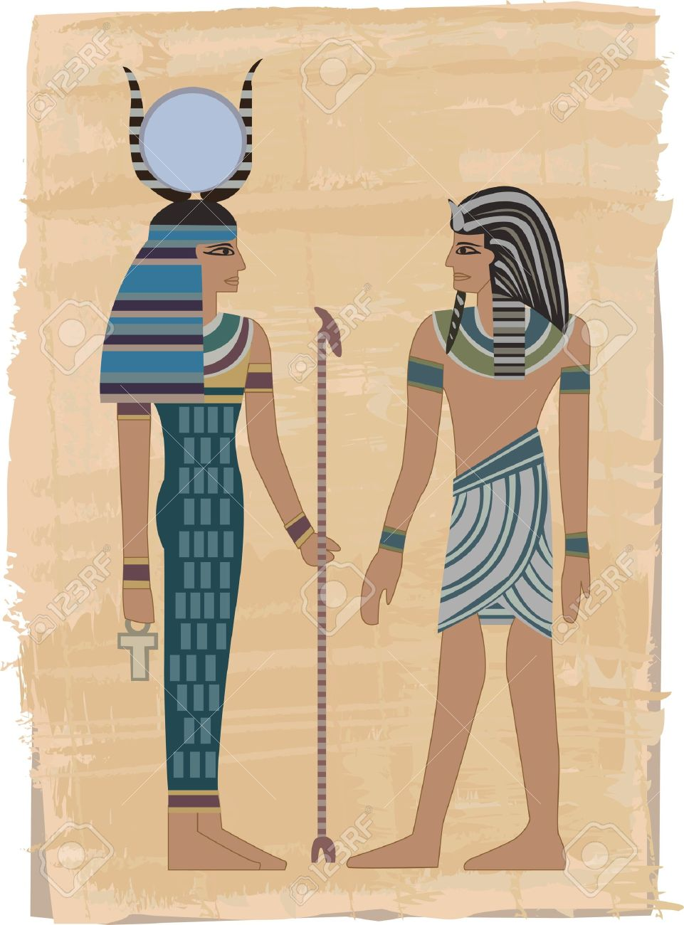 pharaoh figures illustrated on papyrus royalty free cliparts