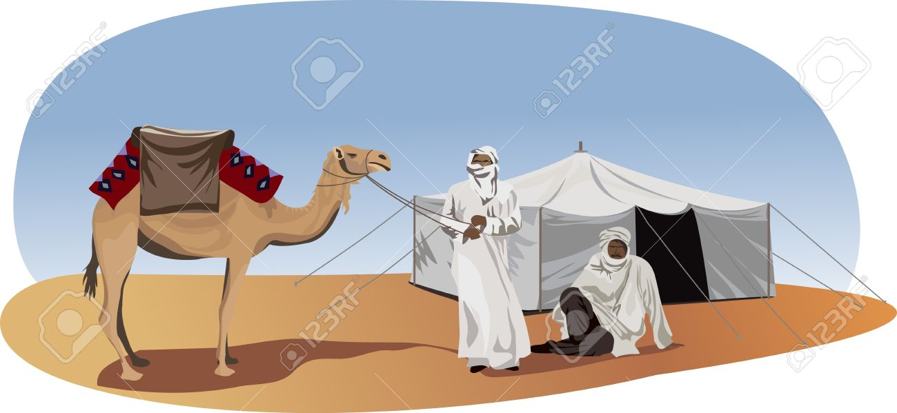 Background illustration with bedouins and camel - 10862768