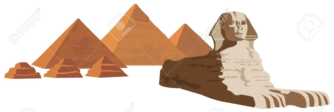 Background illustration with the sphinx and the pyramids Stock Vector - 10862760