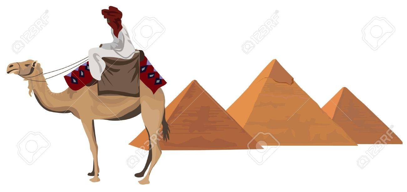 Background illustration with a bedouin and the pyramids of Giza - 10862772