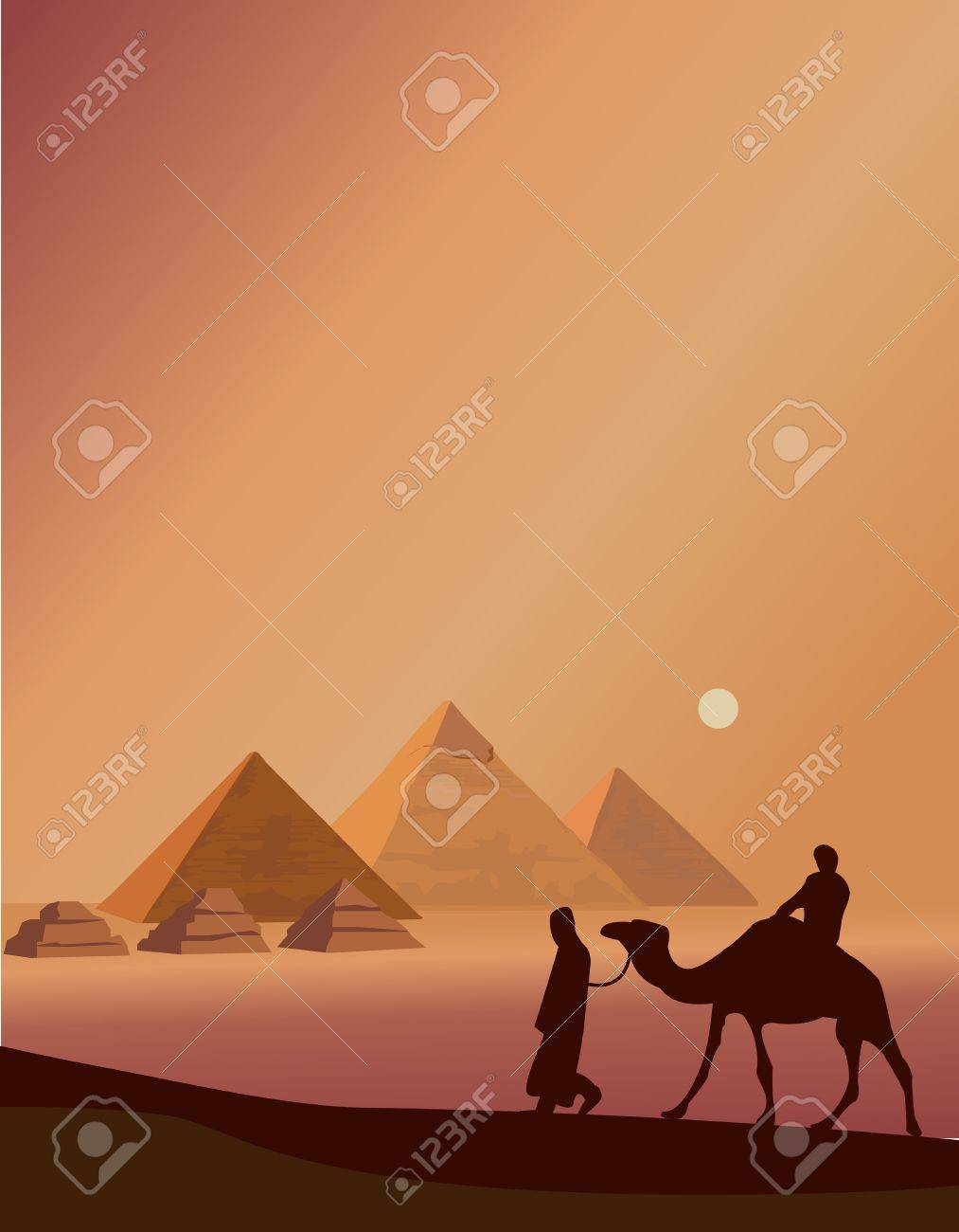 Background illustration with bedouins and the pyramids of Giza - 10862765