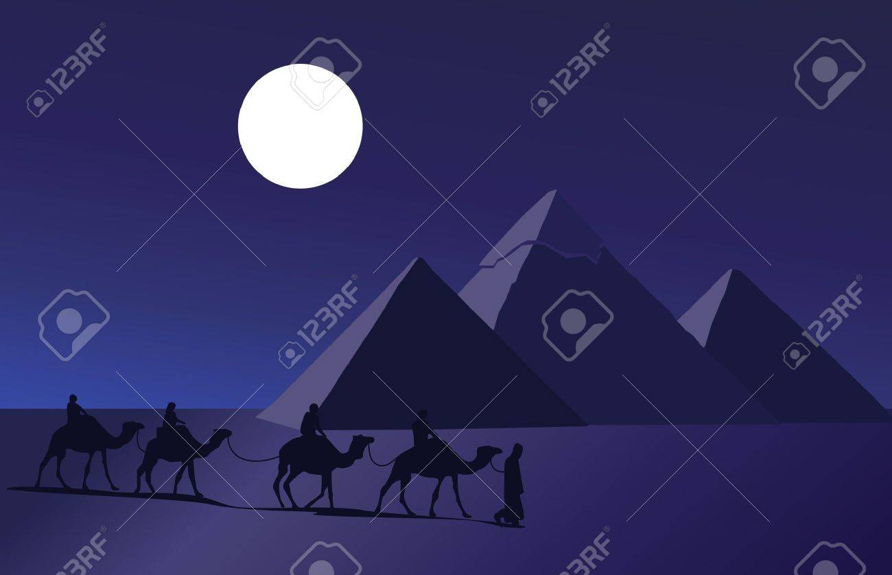 Background illustration with a camel caravan and the pyramids of Giza Stock Vector - 10862761