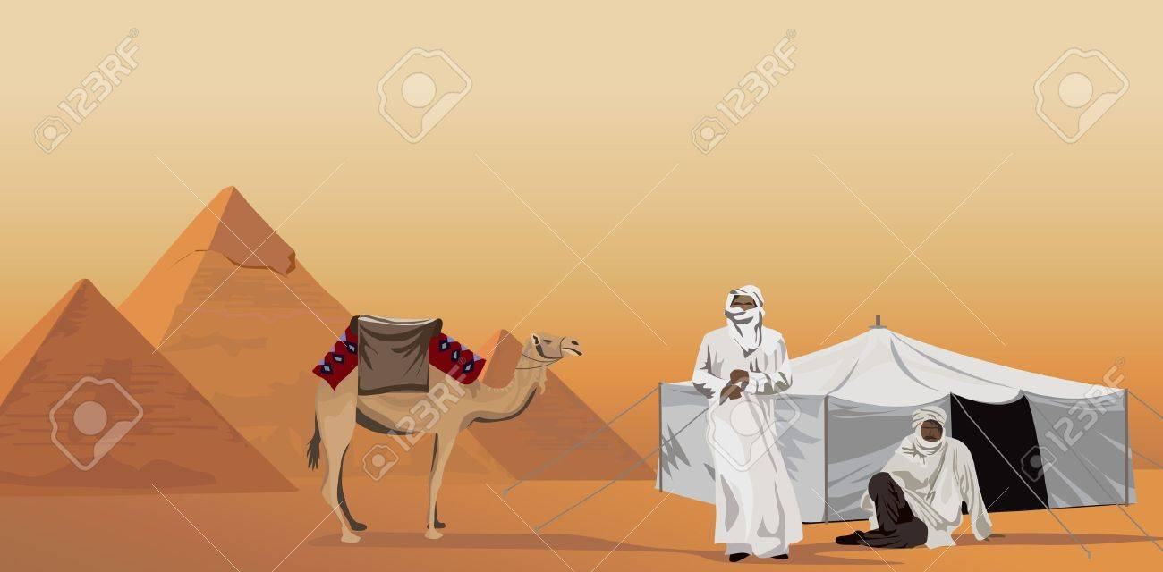 Background illustration with bedouins and the pyramids of Giza - 10862794