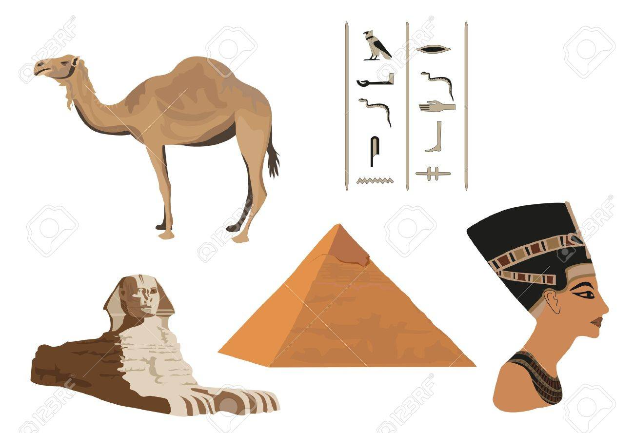 Illustration with symbols of Egypt isolated on white Stock Vector - 10862803
