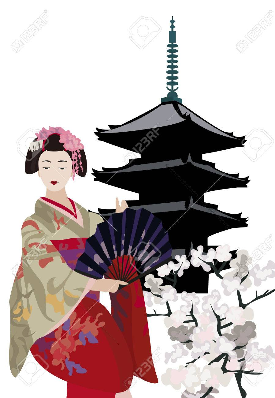 Illustration with Geisha, Pagoda Temple and Cherry Blossoms Stock Vector - 11139430