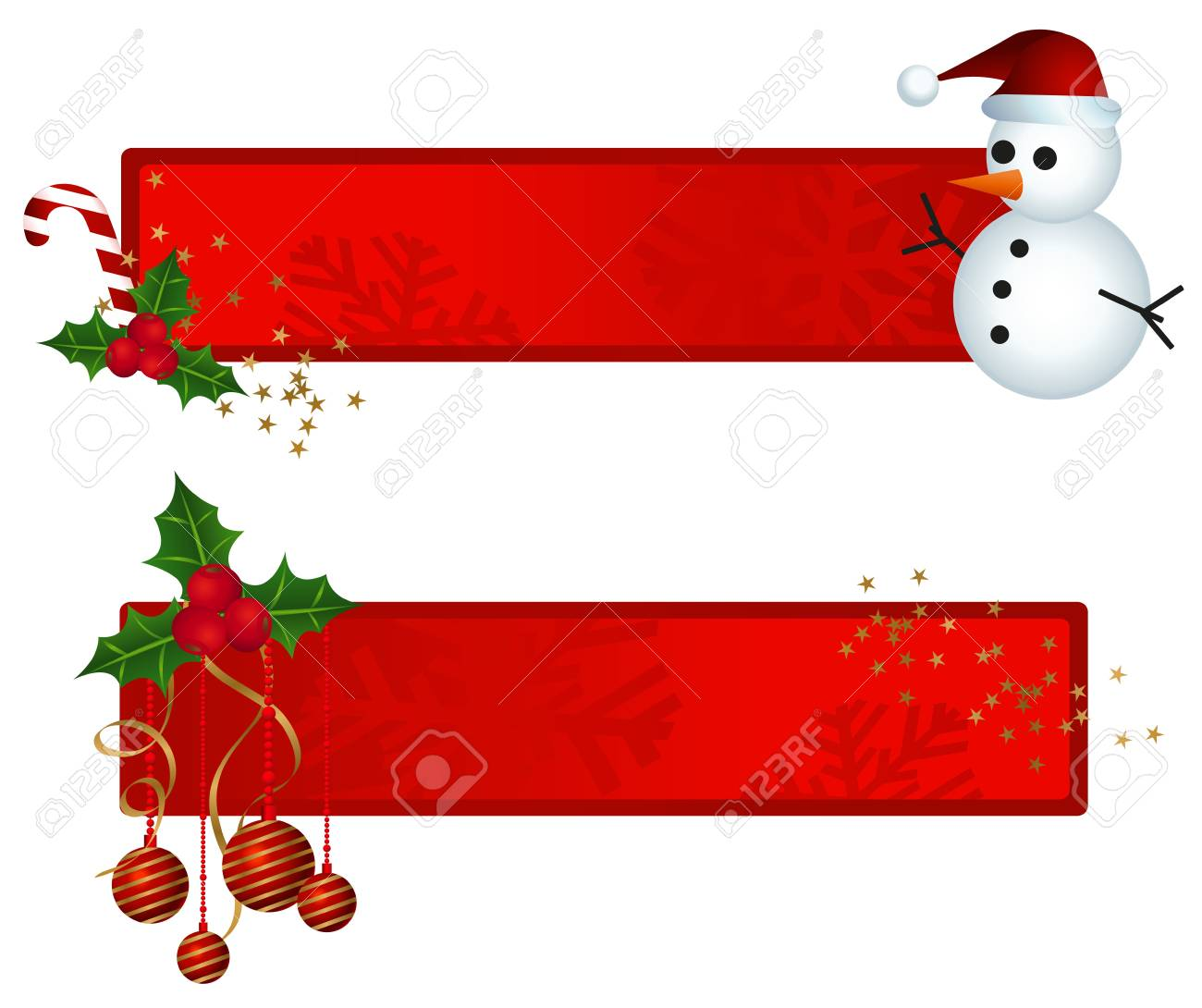Banners with christmas ornaments and snowman illustration Stock Vector - 11648370