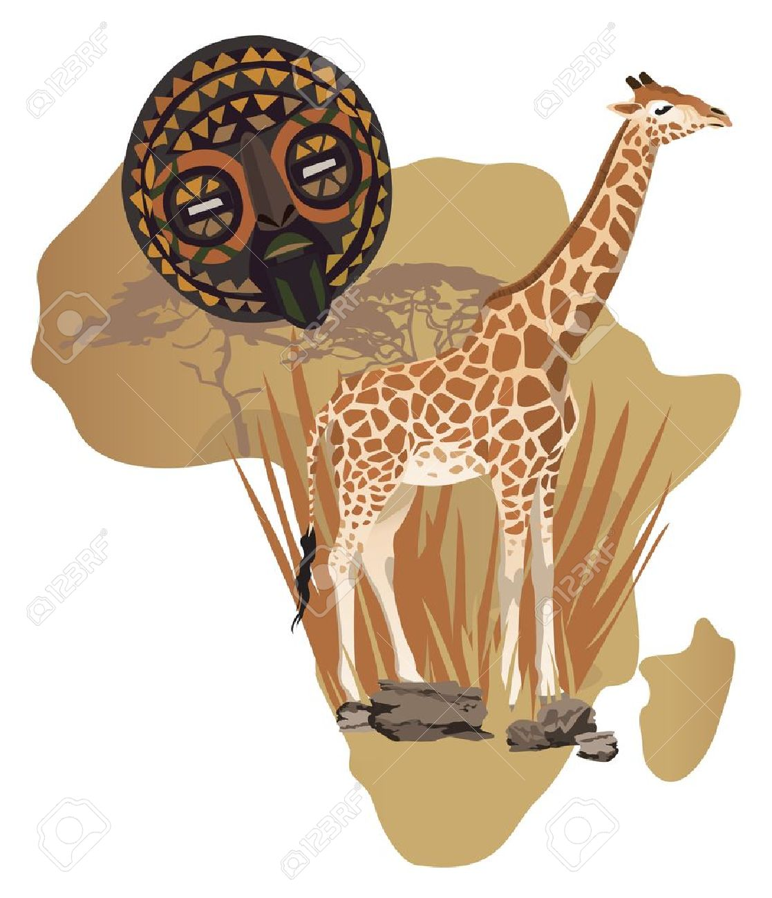 Illustration with Africa map and African symbols Stock Vector - 12194611