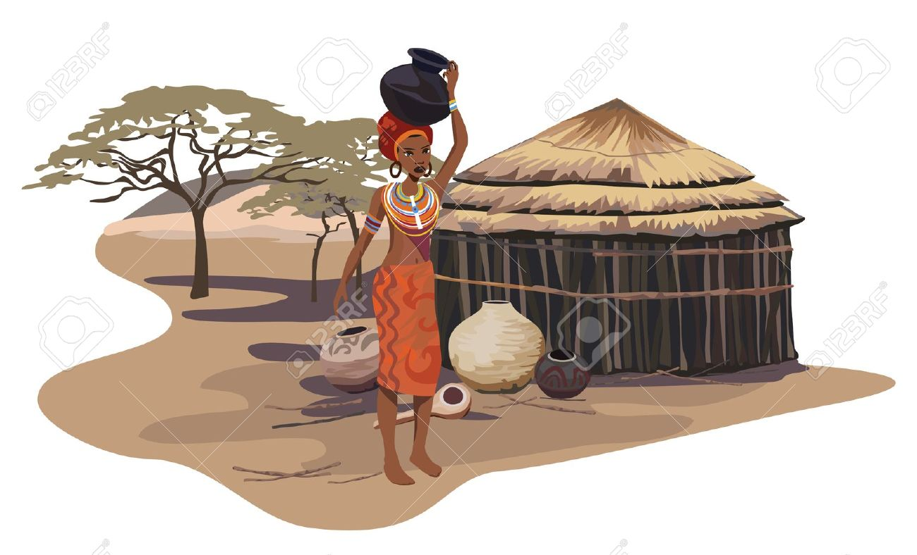 Illustration with an African woman carrying a pot - 12194601