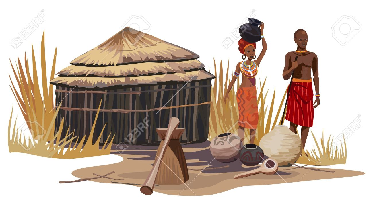 African man and woman in an African village Stock Vector - 12194596
