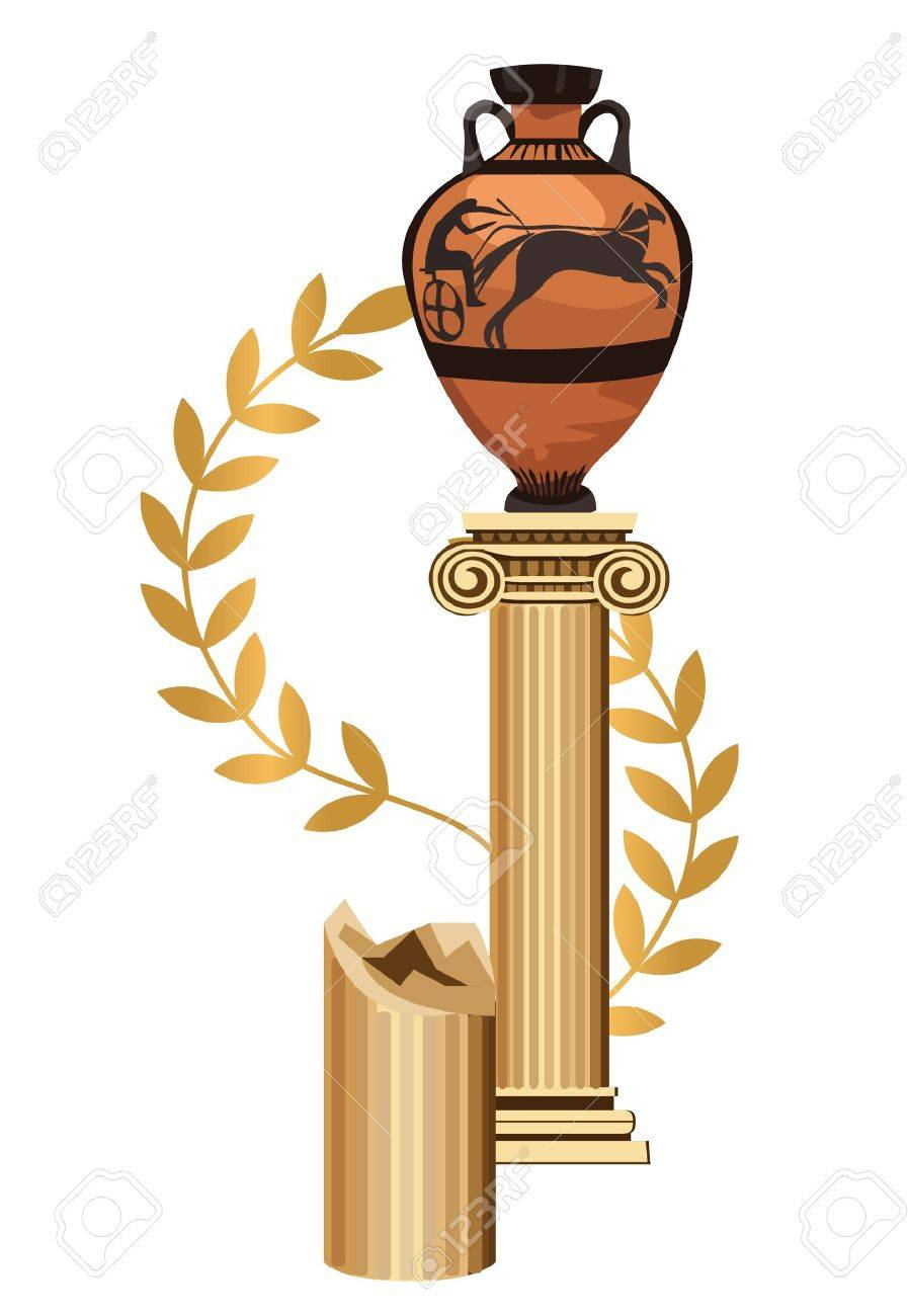 Antique Greek column with amphora and olive branch Stock Vector - 13411764