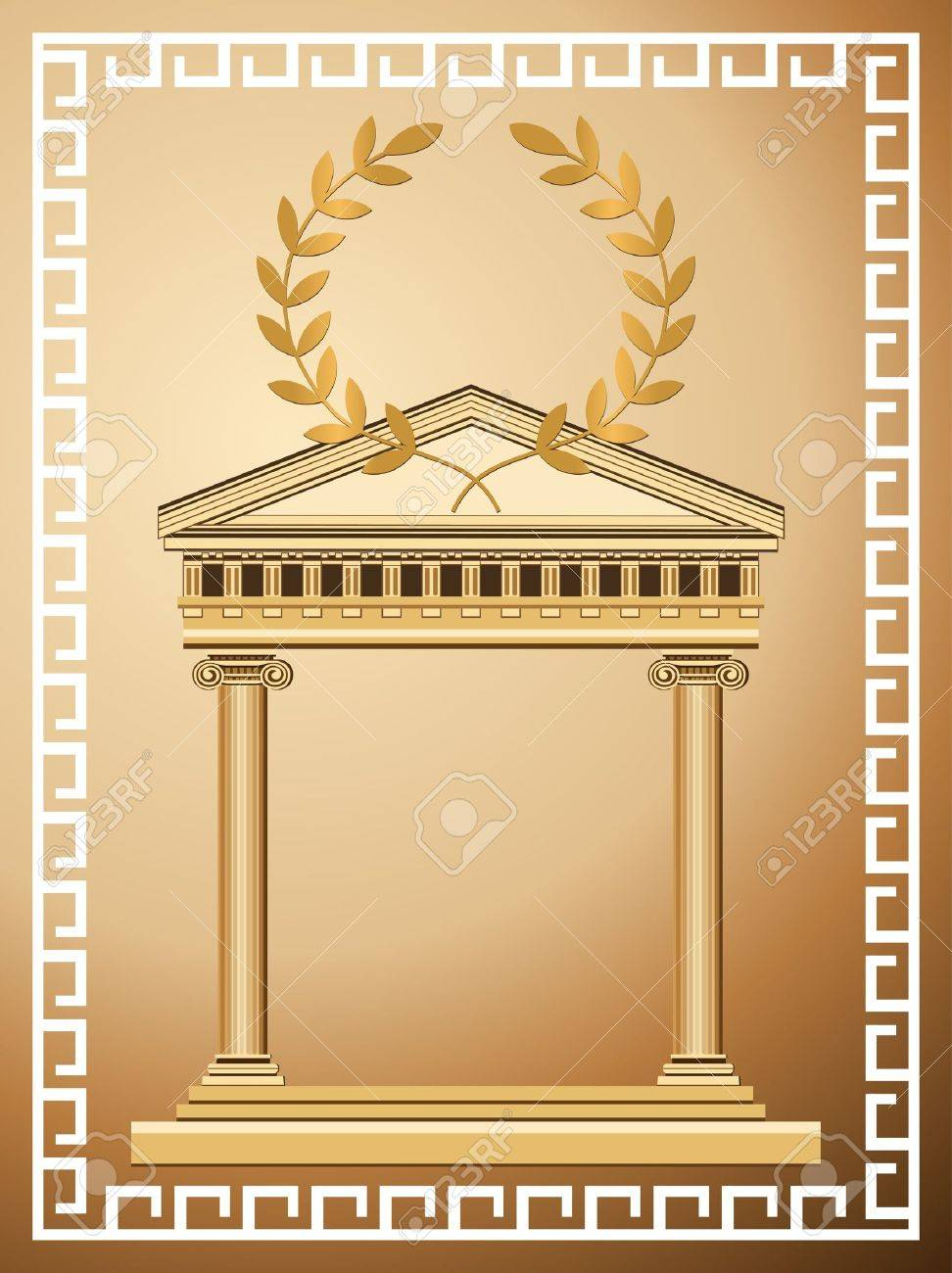 Antique temple background with olive branch and Greek pattern Stock Vector - 13411776