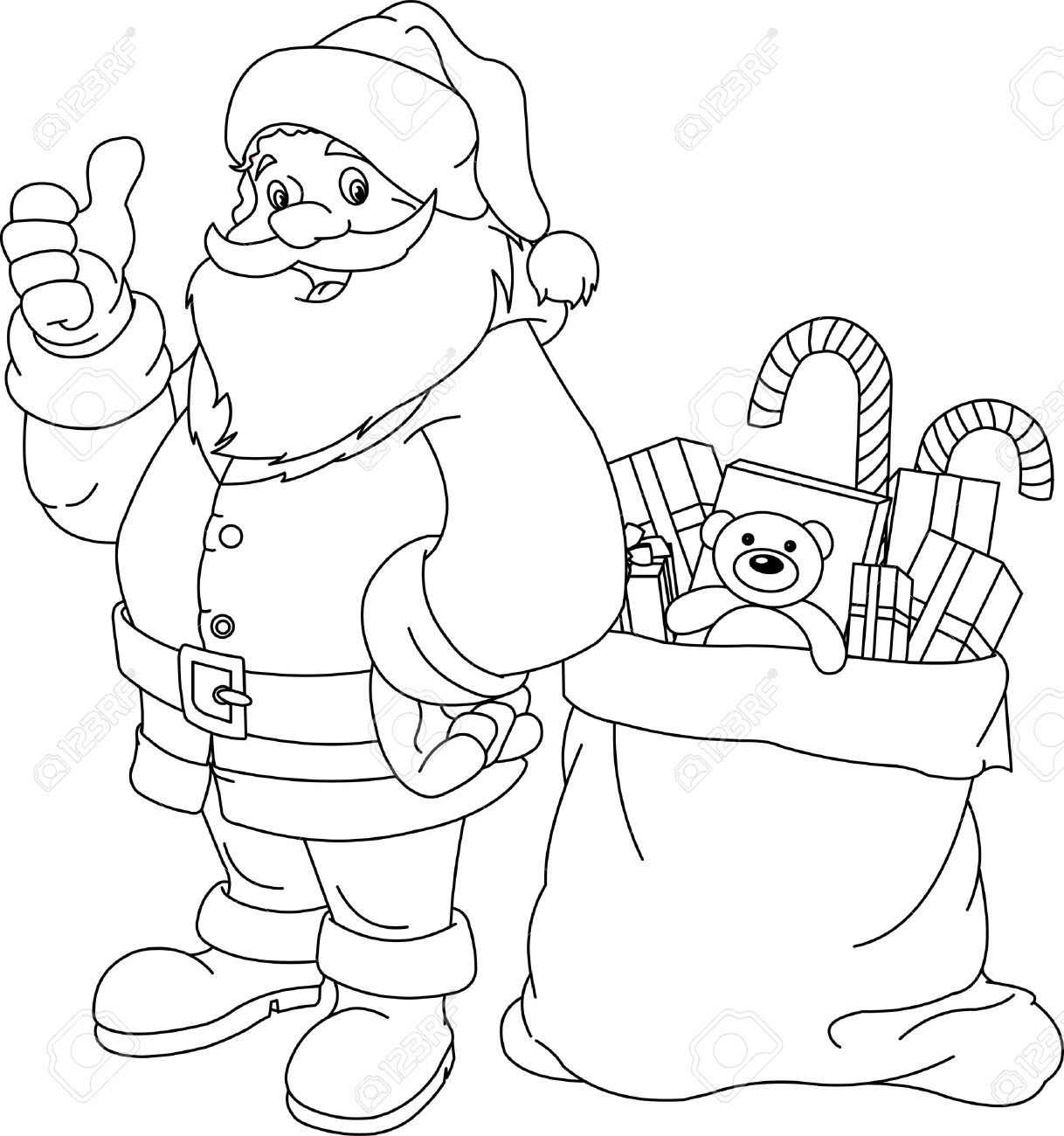 coloring page for christmas and new year santa claus bag with