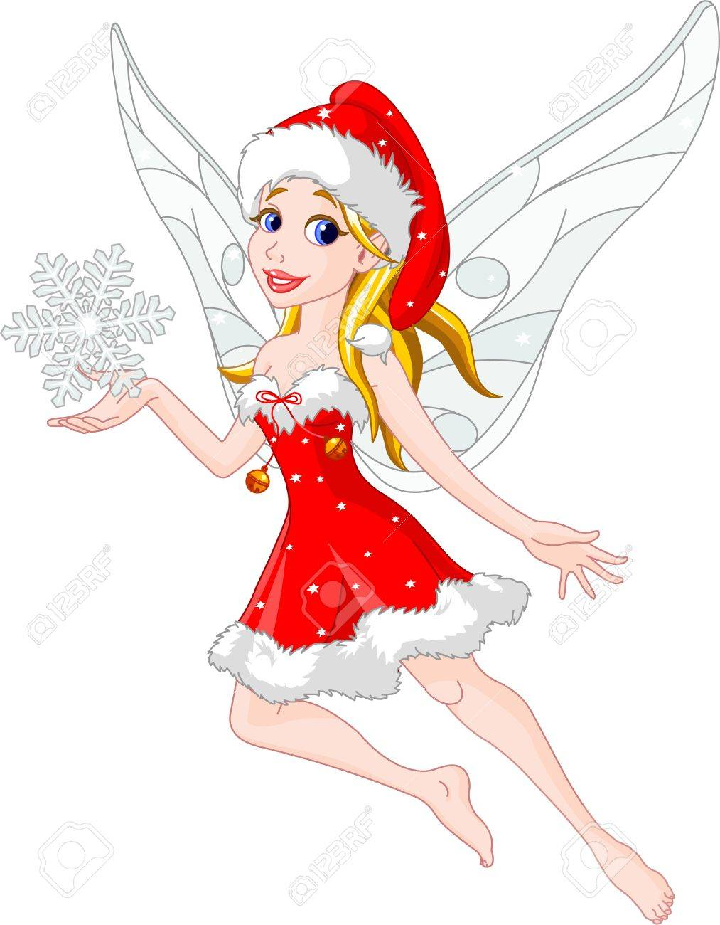 Flying Christmas Fairy Holding Snowflake Royalty Free Cliparts ...
