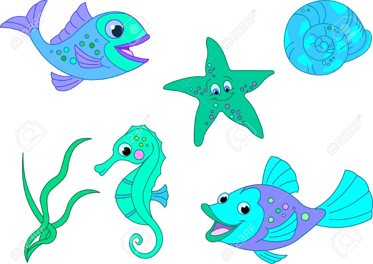 Under The Sea. Vector Fish Set Royalty Free Cliparts, Vectors, And ...