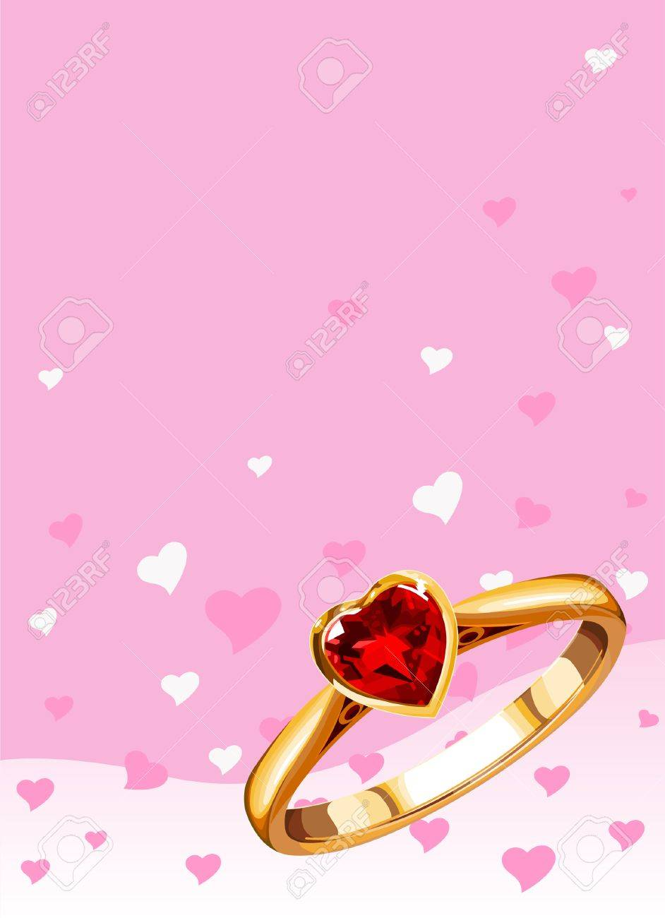 Wedding Ring On A Pink Background Royalty Free Cliparts, Vectors ...