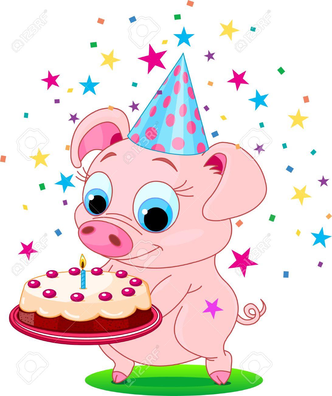 vector piglet holding birthday cake smiling vector illustration