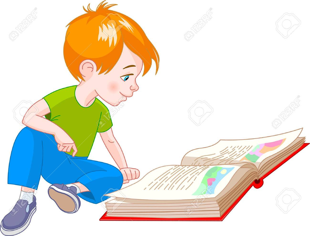 boy  sitting on floor and reading a book Stock Vector - 4164682