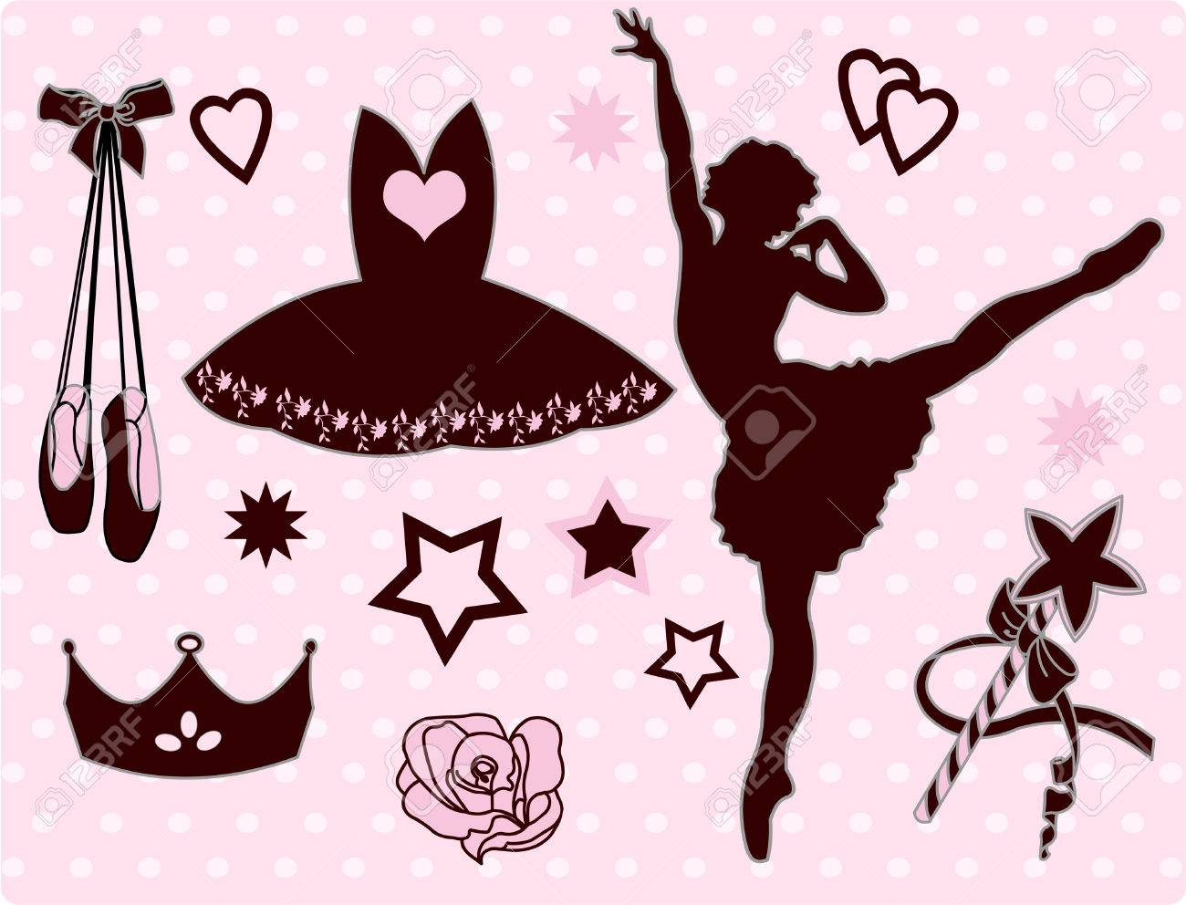 set of ballet accessories and ballerina royalty free cliparts