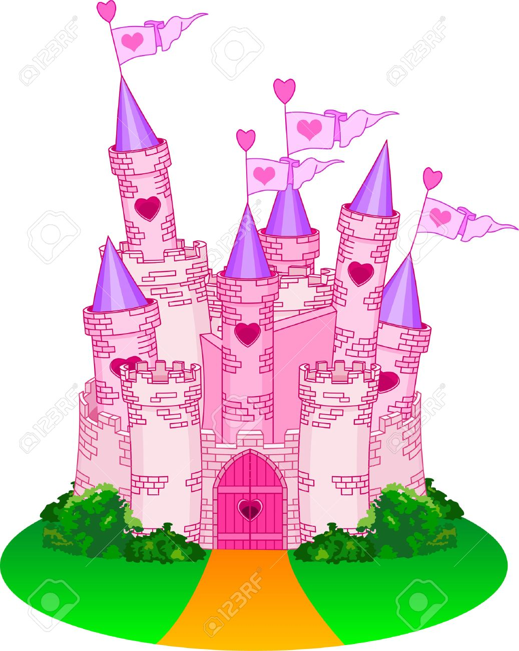 vector illustration of a fairy tale princess castle royalty free