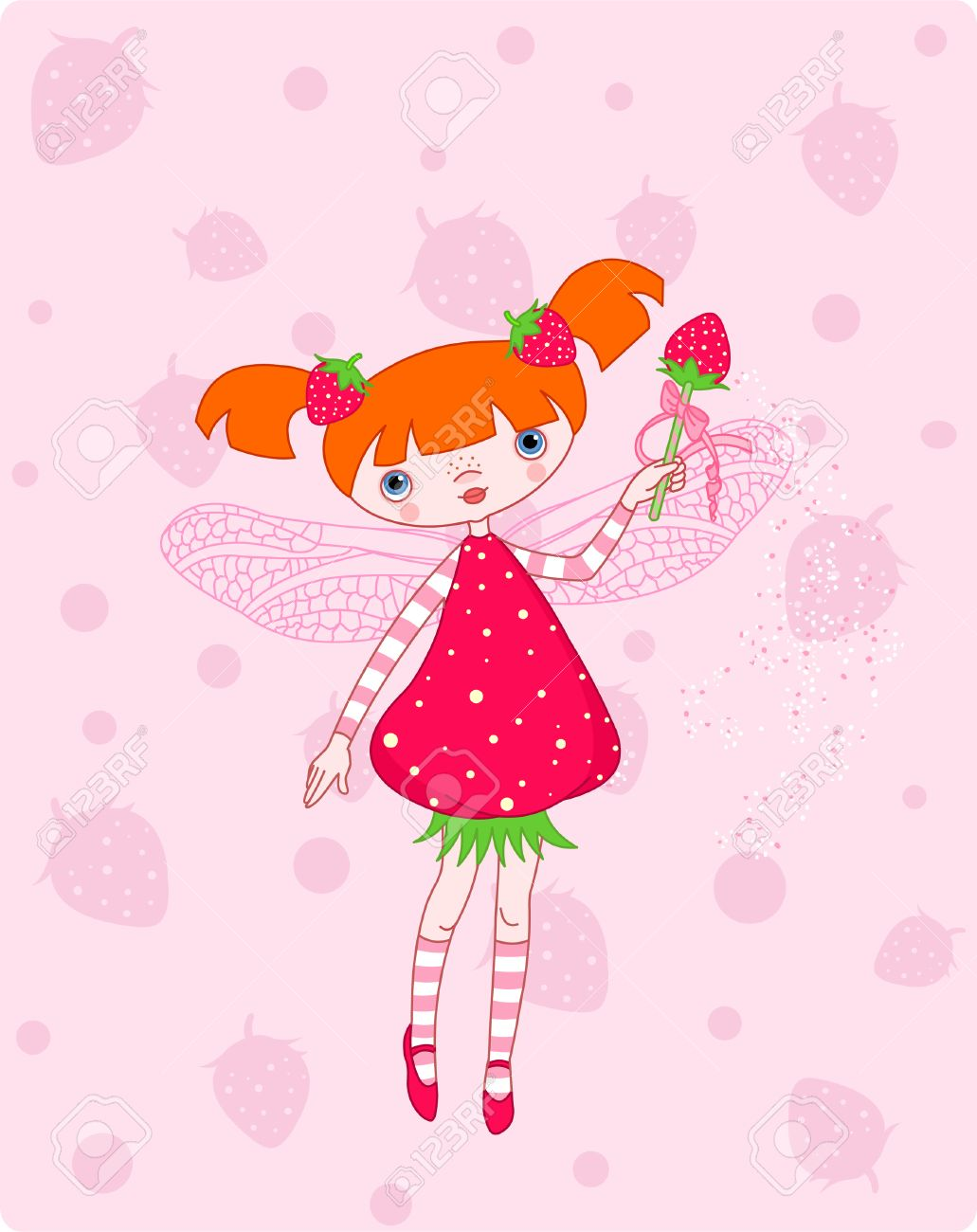 Cute strawberry fairy flying on pink background Stock Vector - 4577687