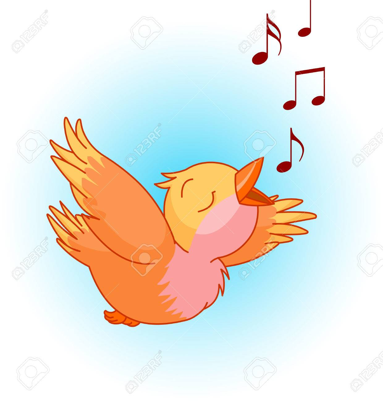 Bird Singing A Song In The Sky. Can Be Used For Spring Or Summer Time