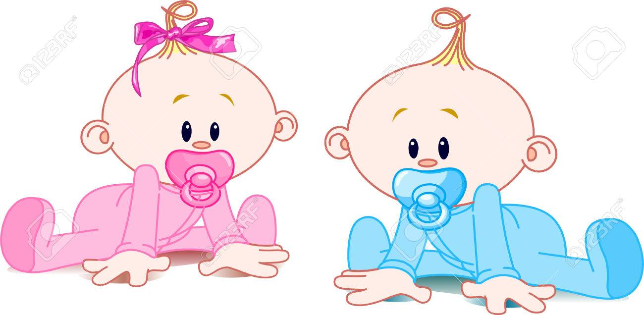 Two adorable babies - the girl with bow and the boy. - 4702288