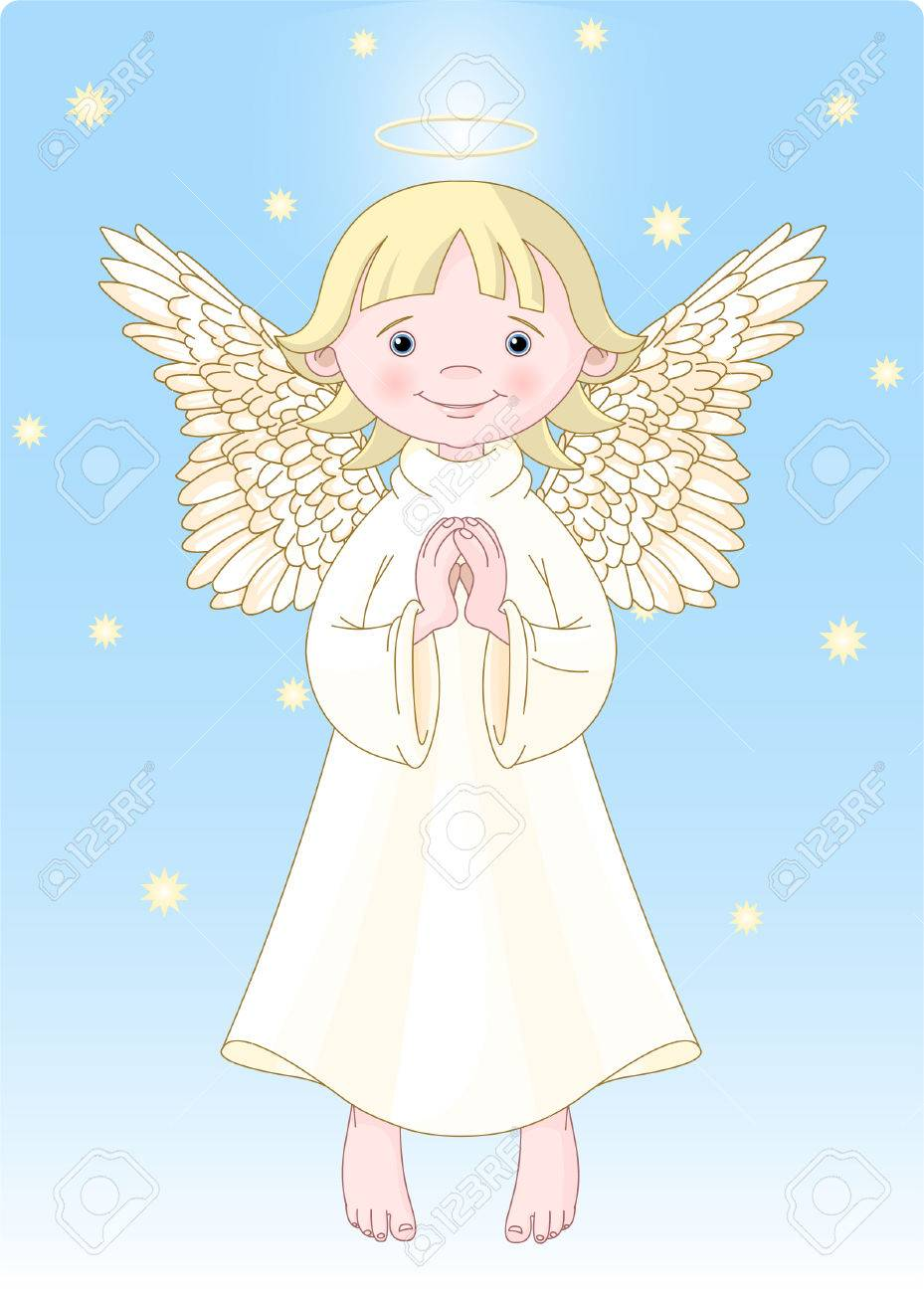 Cute Praying Angel in White Gown. All levels are separate. Stock Vector - 4772437