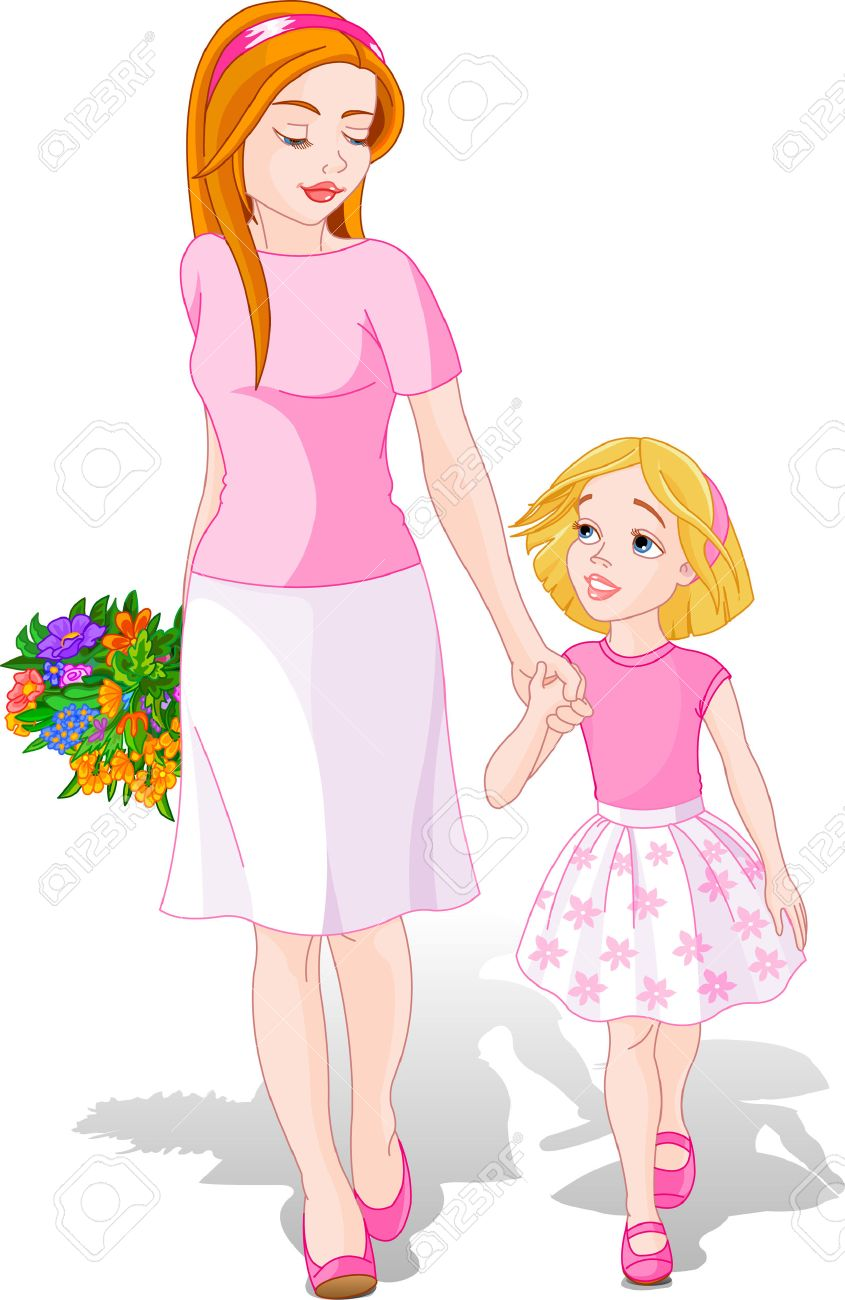 Mother walking with Daughter. Mother�s Day illustration Stock Vector - 4797038