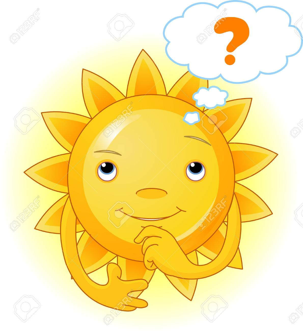 Cartoon Character  of Cute Summer Sun thinking Stock Vector - 4890439
