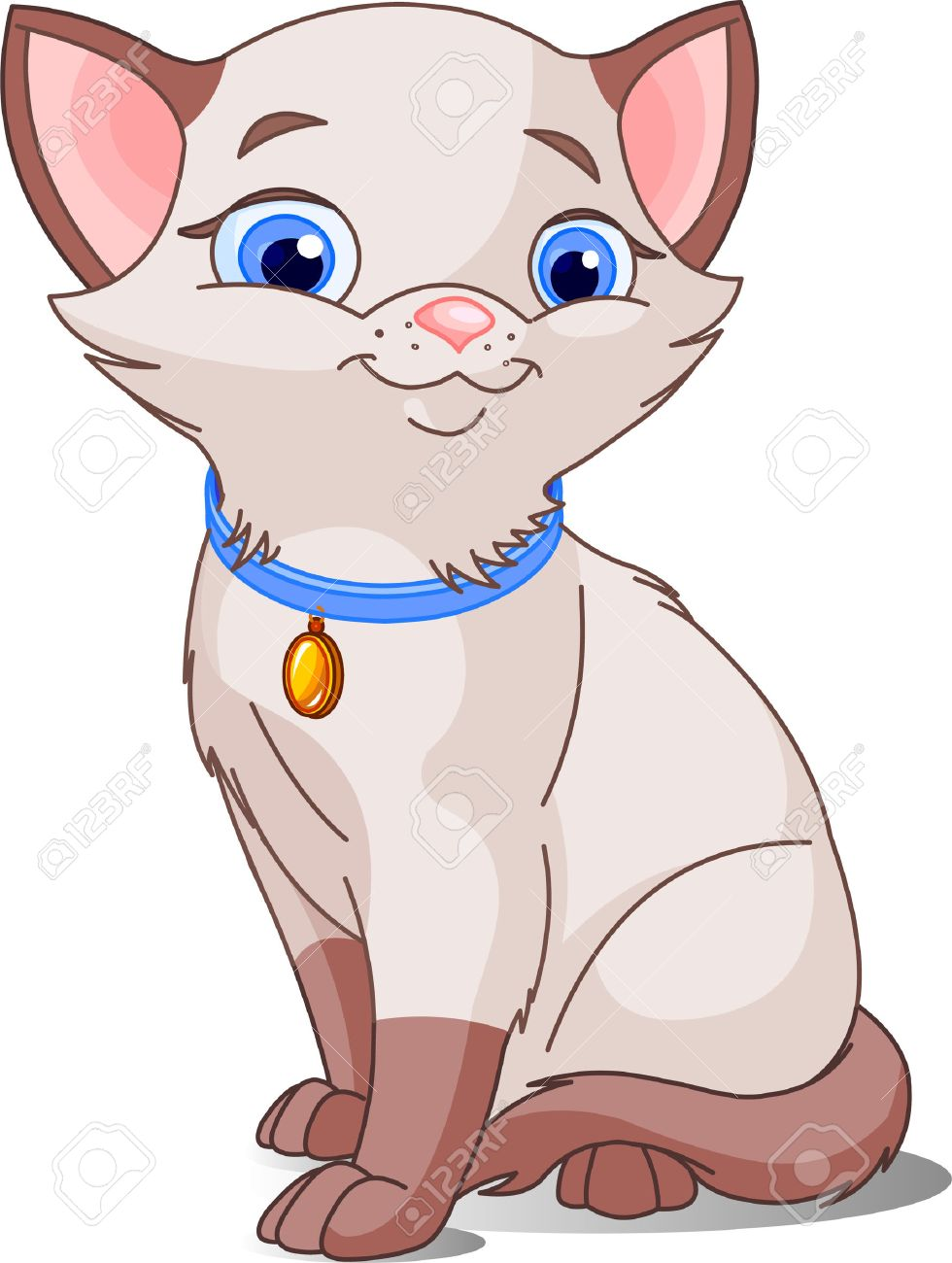 Cute Cat, pointed siamese. Vector illustration Stock Vector - 4914629