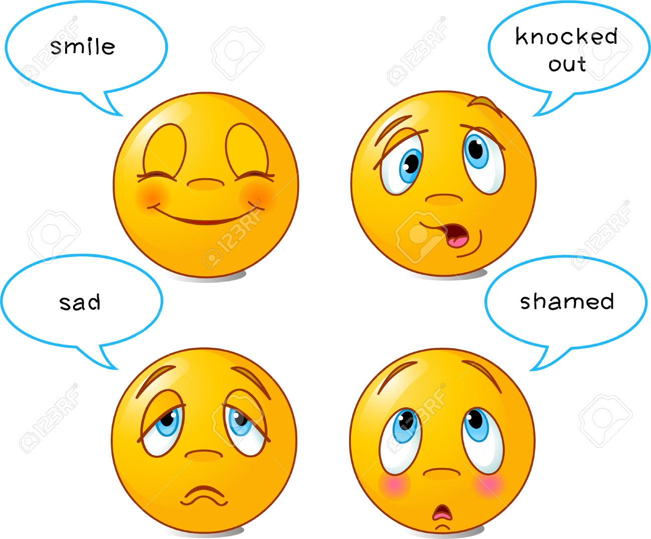 Set of four smiley faces in various facial expressions, with speech bubbles Stock Vector - 4996093