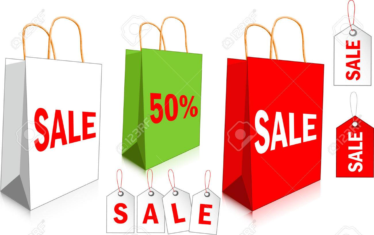 Empty paper shopping bags with SALE labels Stock Vector - 5036385