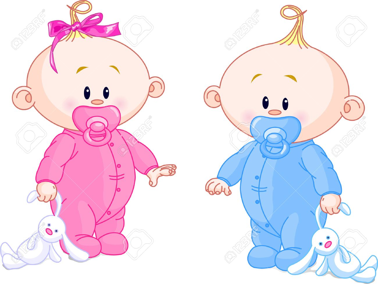 Twin Baby Boy And Girl With Pacifiers And Toys Royalty Free Cliparts