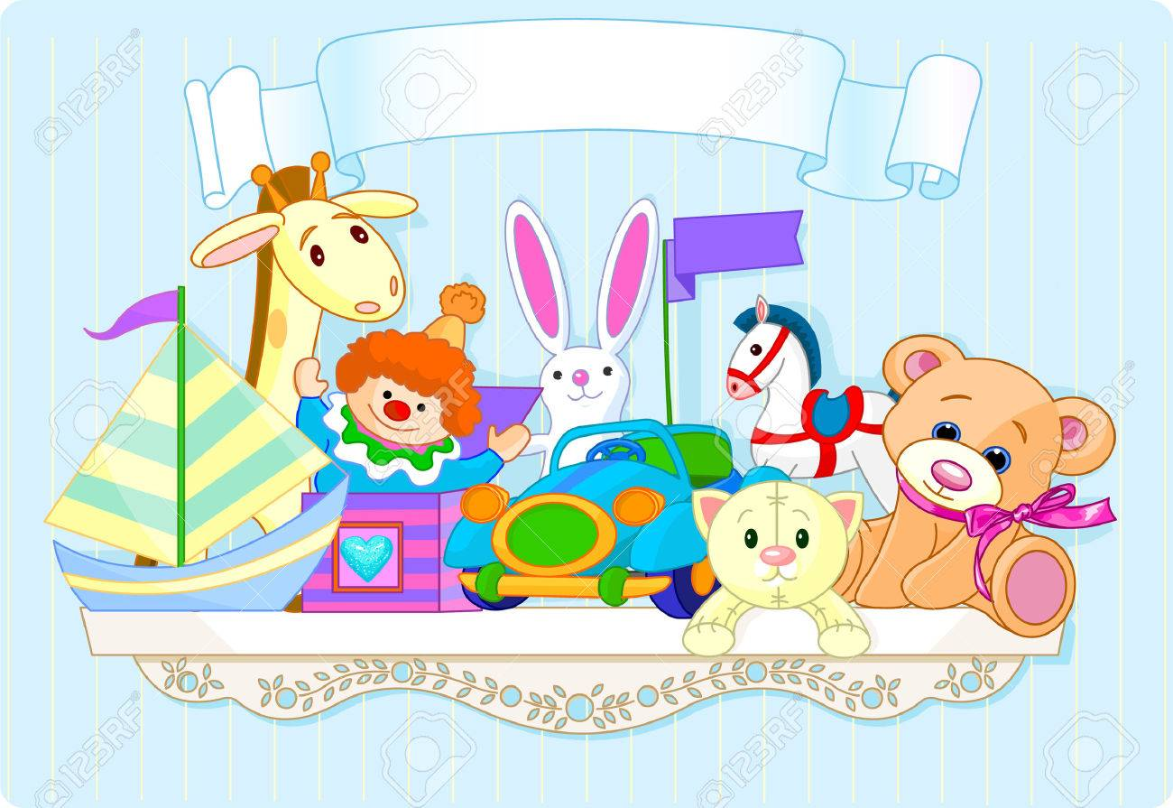 Shelf full of toys with place for copyext Stock Vector - 5154962