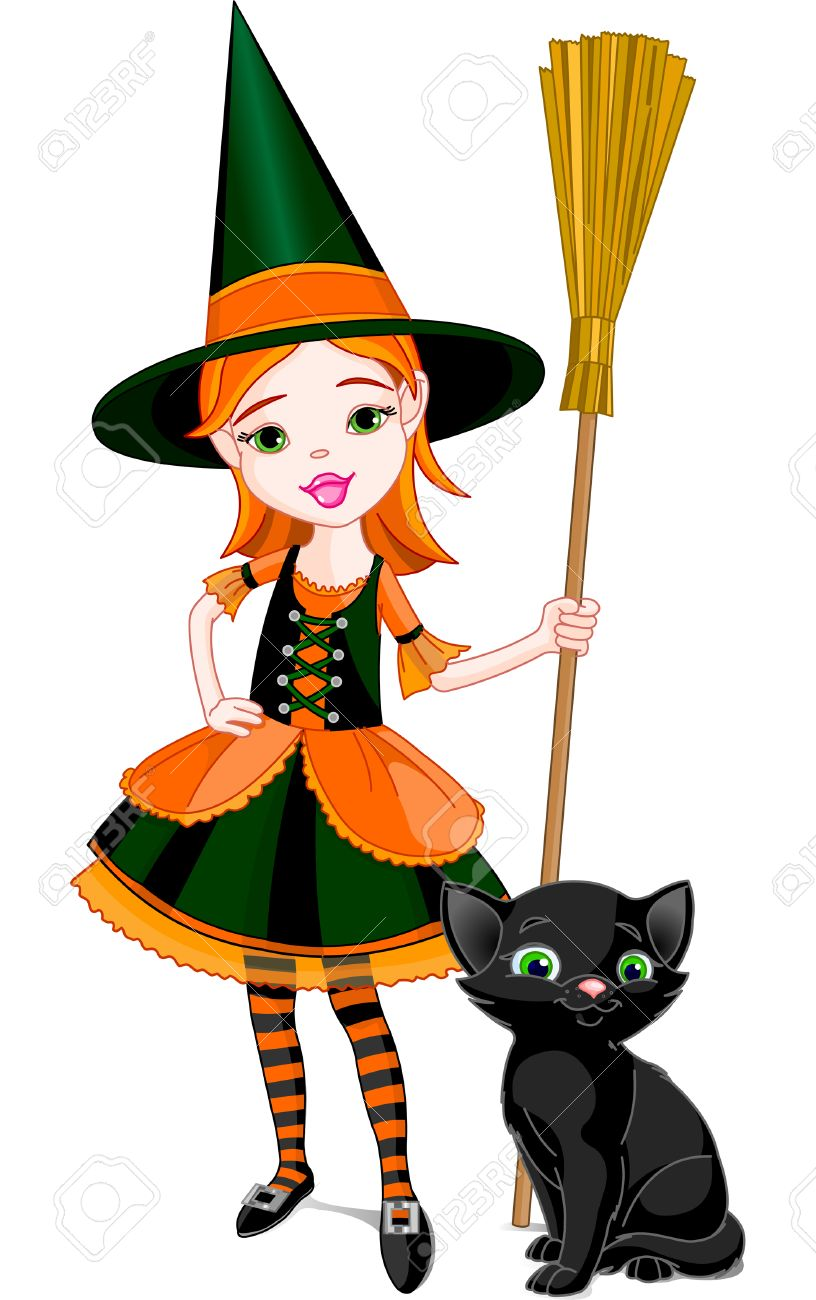 Illustration For Halloween With A Little Cute Witch And Cat Is Different Layer Stock