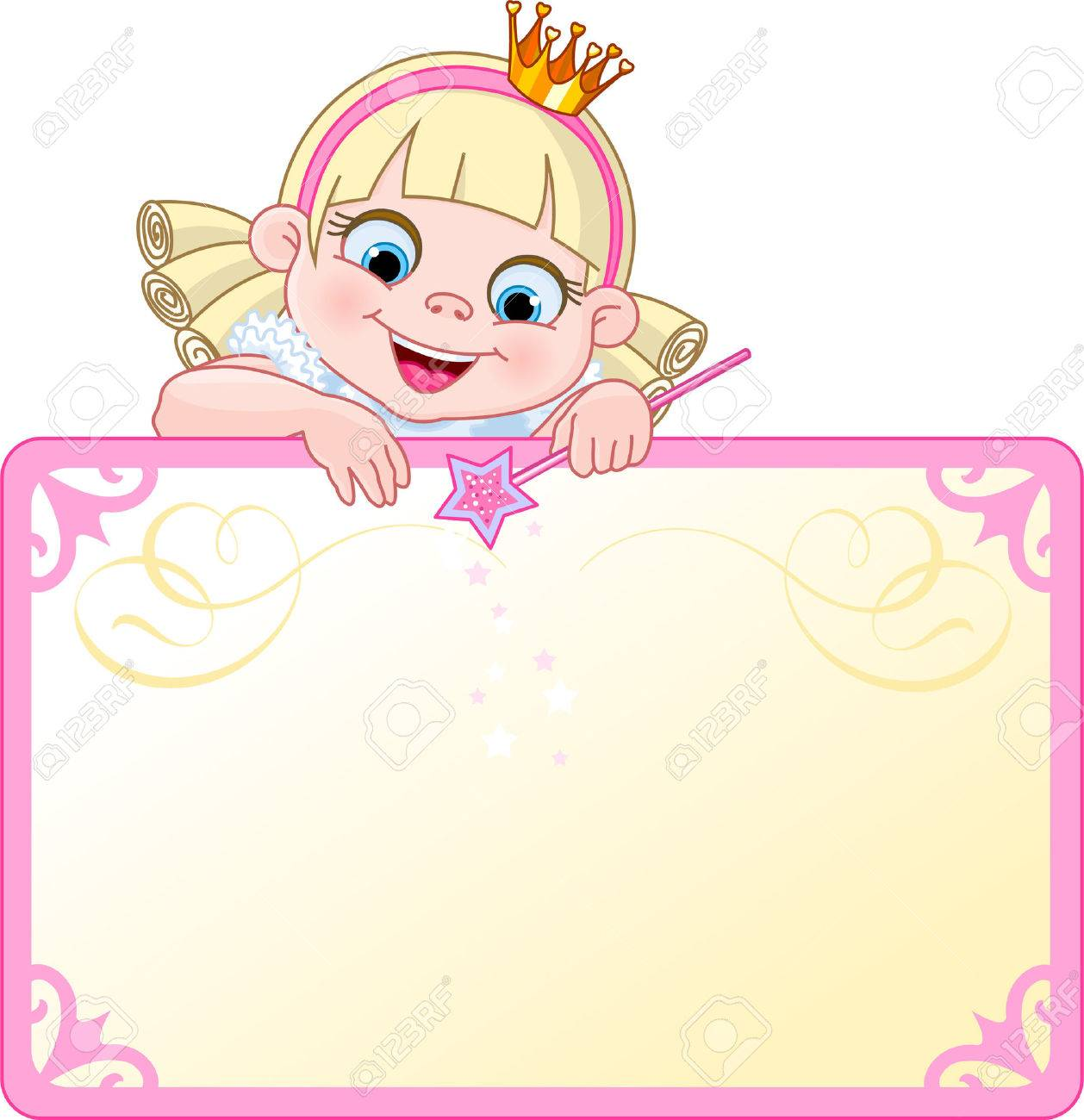 Cute  Princess character on a place card or invite. Ideal for little girls parties and promotions. Stock Vector - 5545094