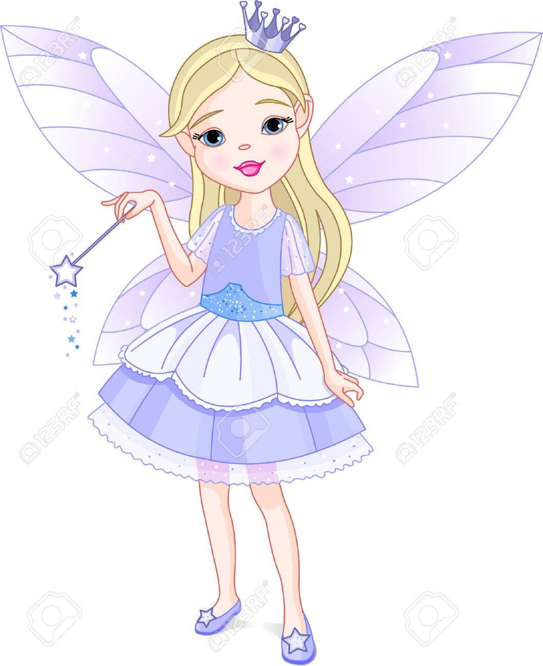 Cute little girl dressed up like fairy Stock Vector - 5568157