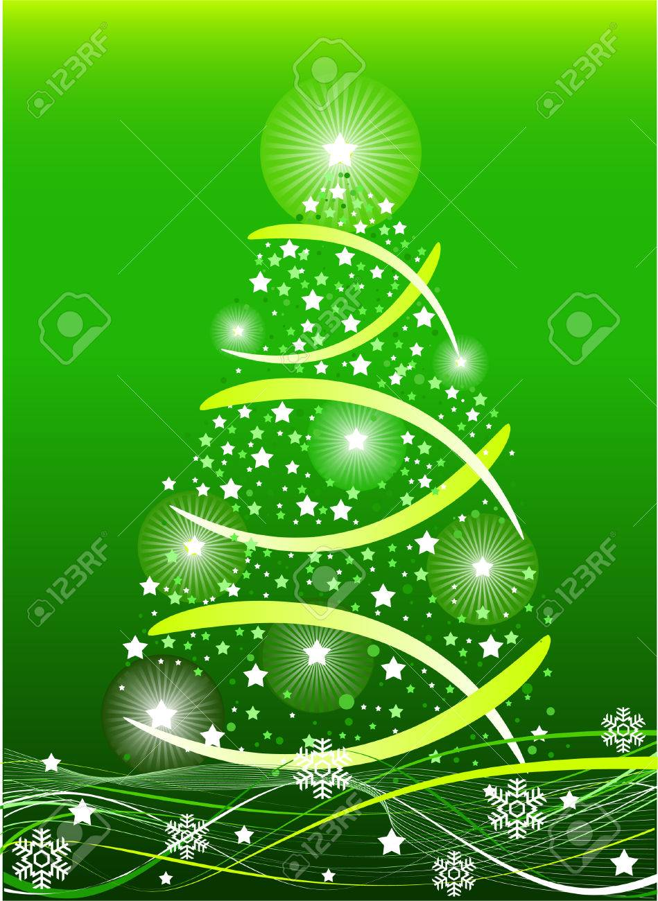 Green color Christmas background, vector illustration Stock Vector - 5660102