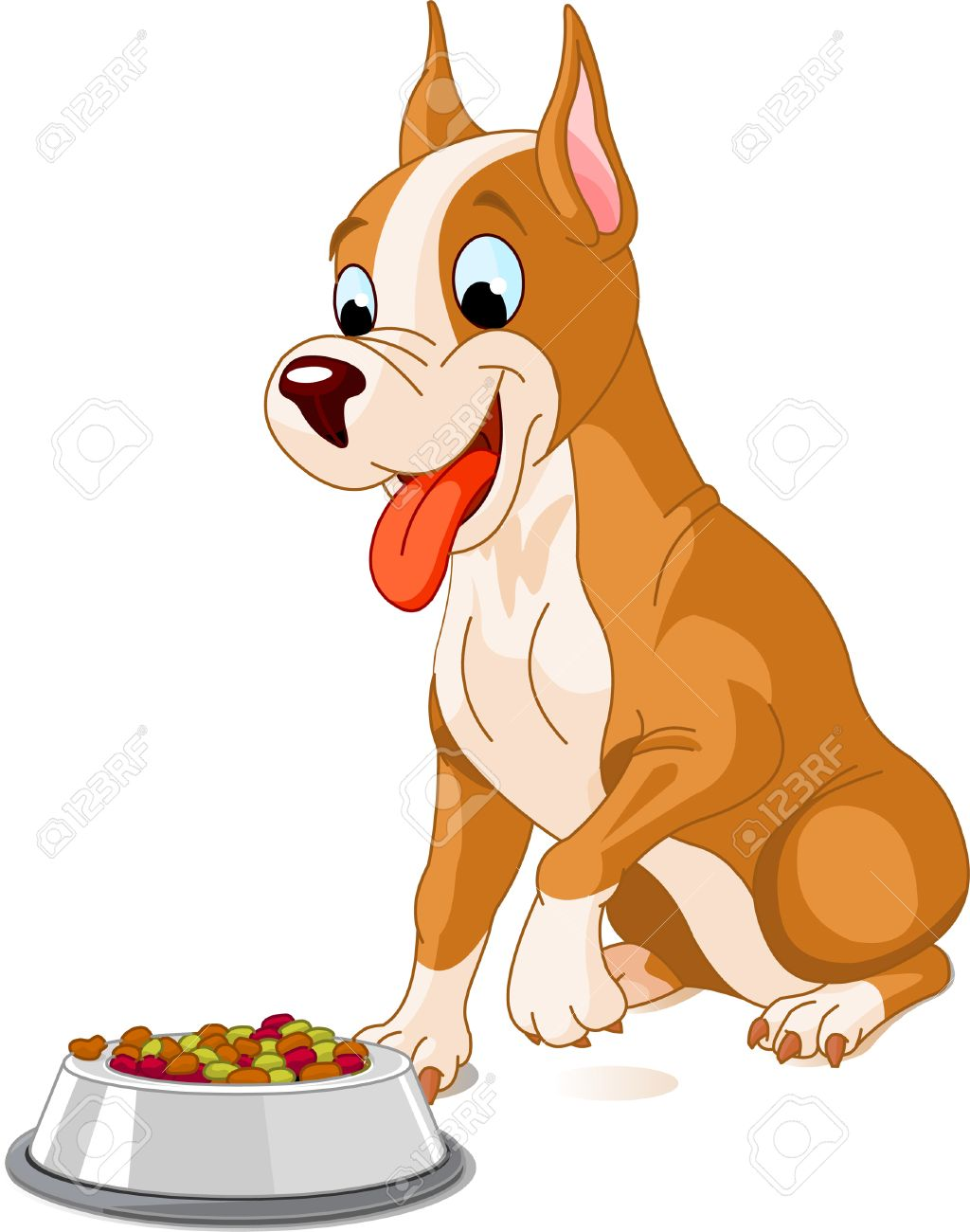 Dog Eating Clipart Hungry Dog About to Eat a Bowl