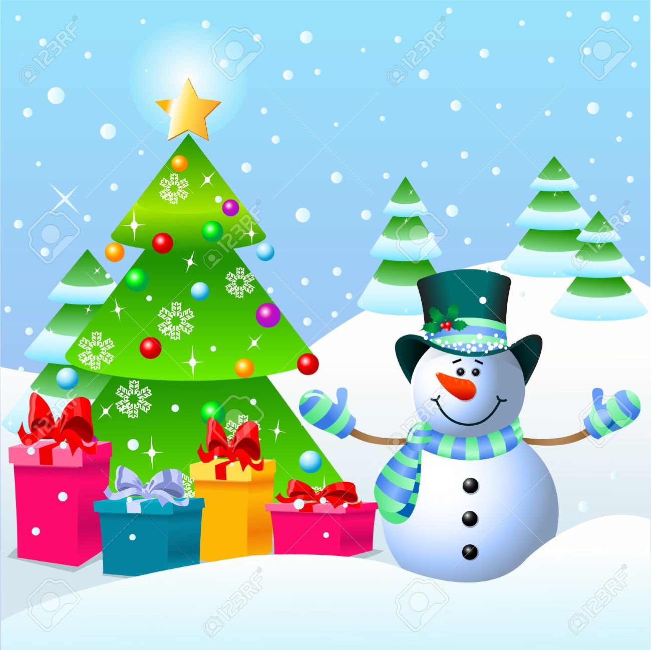 Cute Snowman Standing Near A Christmas Tree Royalty Free Cliparts ...