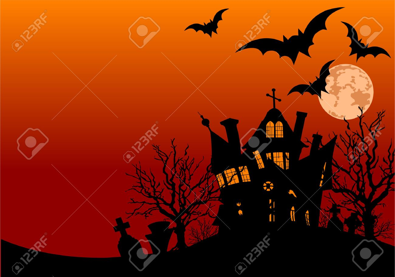 Horizontal Halloween flyer with a haunted house and graveyard Stock Vector - 5727975