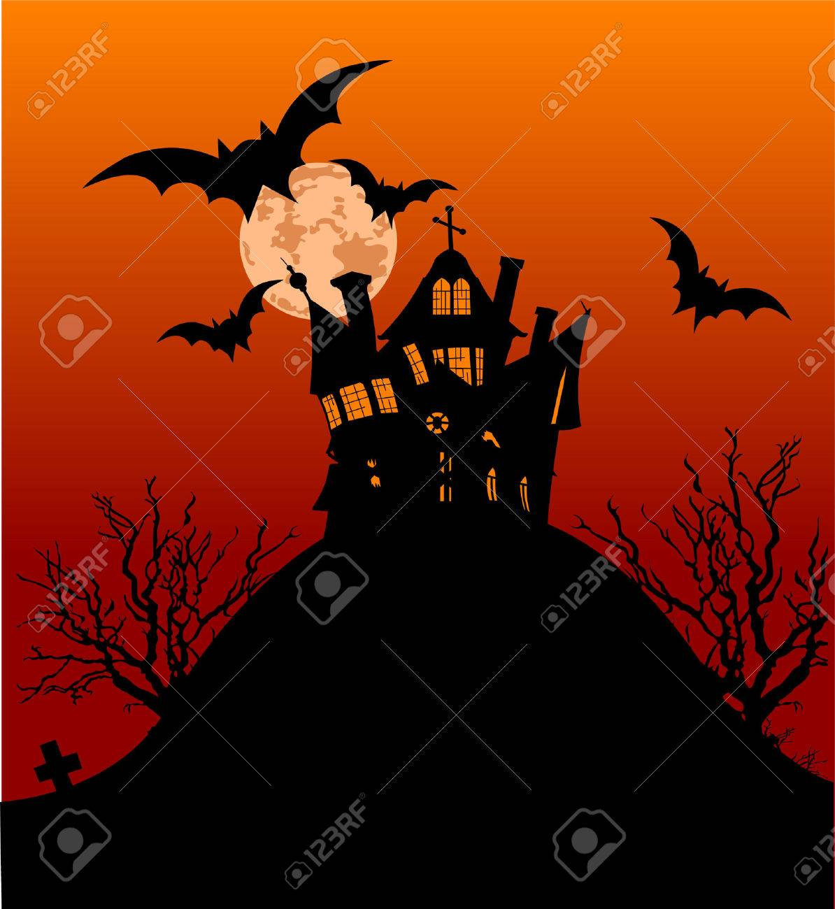 Horizontal Halloween flyer with a haunted house Stock Vector - 5739947