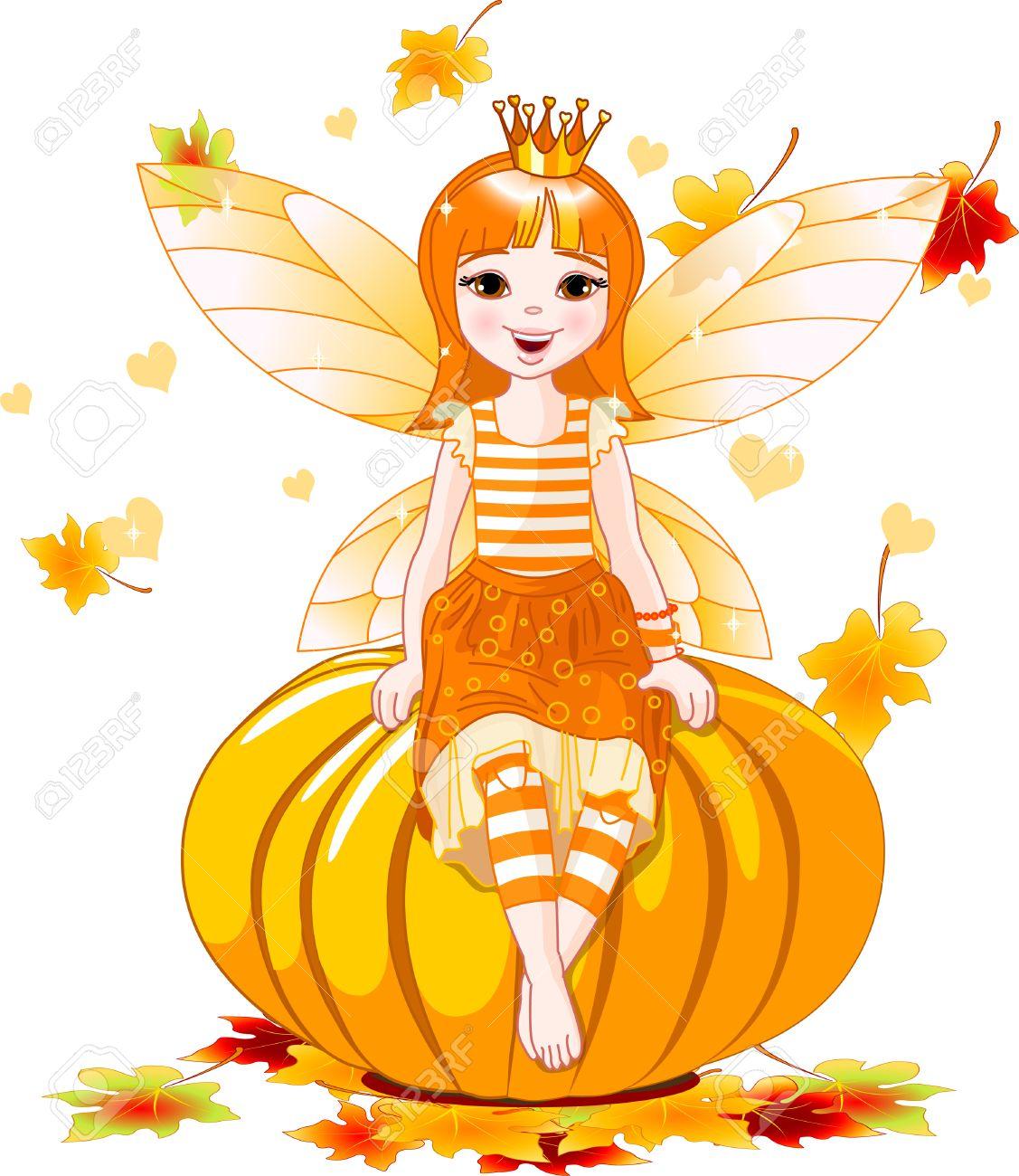 illustration of cute fairy sitting on pumpkin royalty free