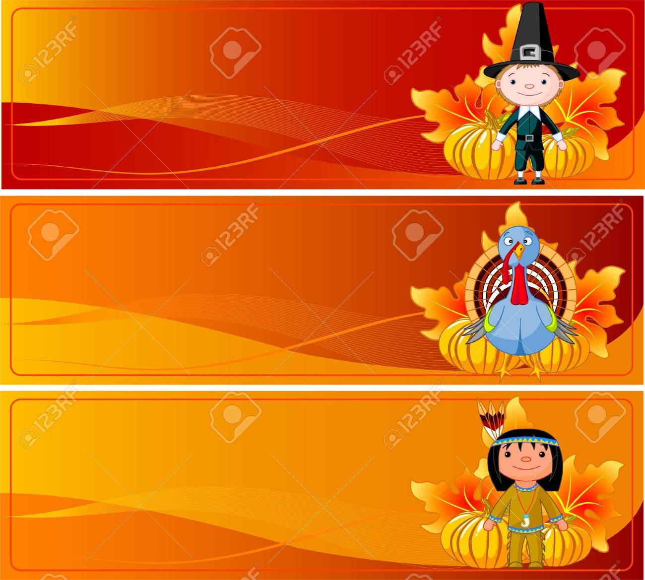 Three Cute Thanksgiving And Autumn Web Banners Royalty Free ...