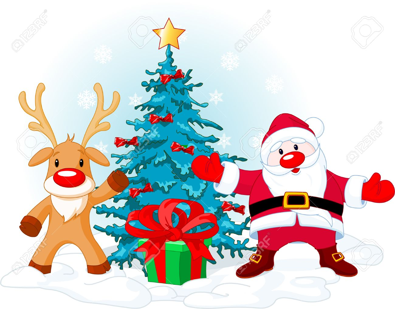 Illustration of a Santa Claus with Rudolph near Christmas tree... Stock Vector - 5874273