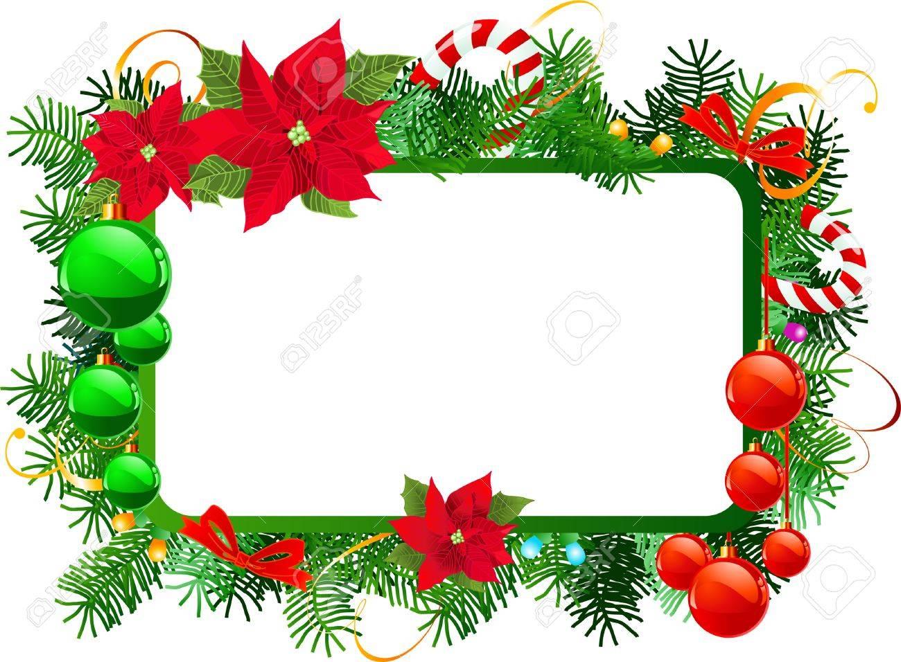 Marco De Navidad Con Decoracion De Navidad Ilustraciones - Decorativos-de-navidad