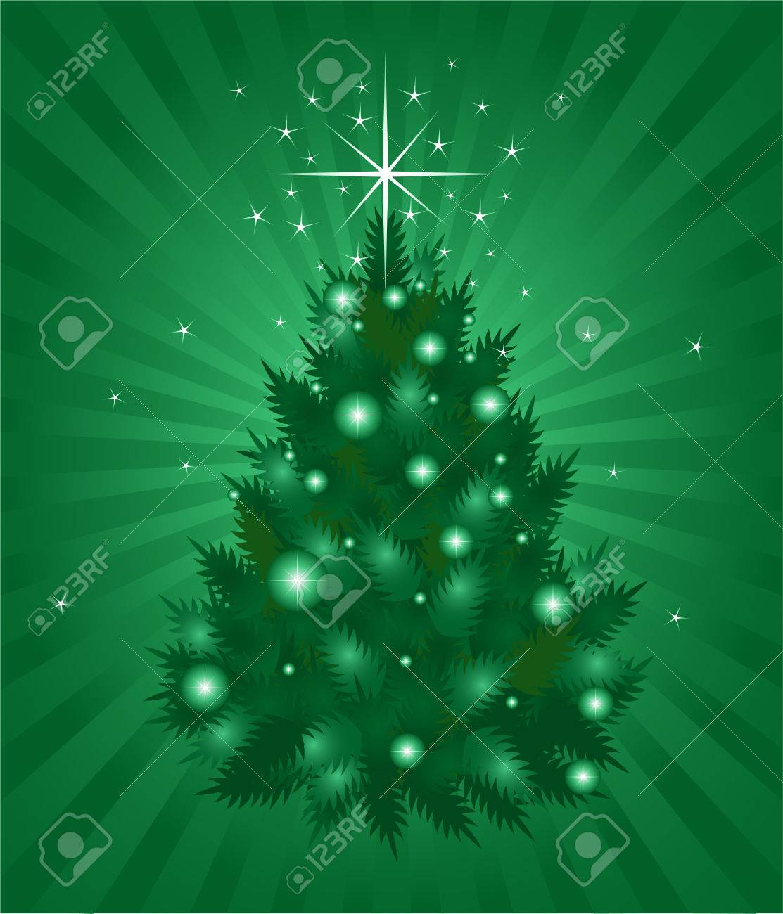 Green color Christmas background, vector illustration Stock Vector - 5987626