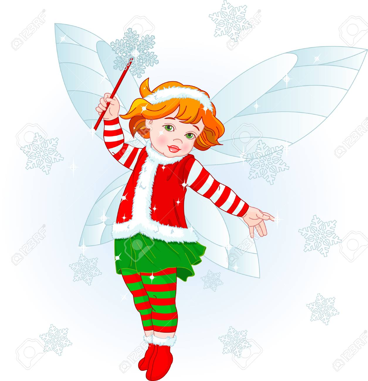 Vector illustration of a Christmas baby fairy Stock Vector - 6030433