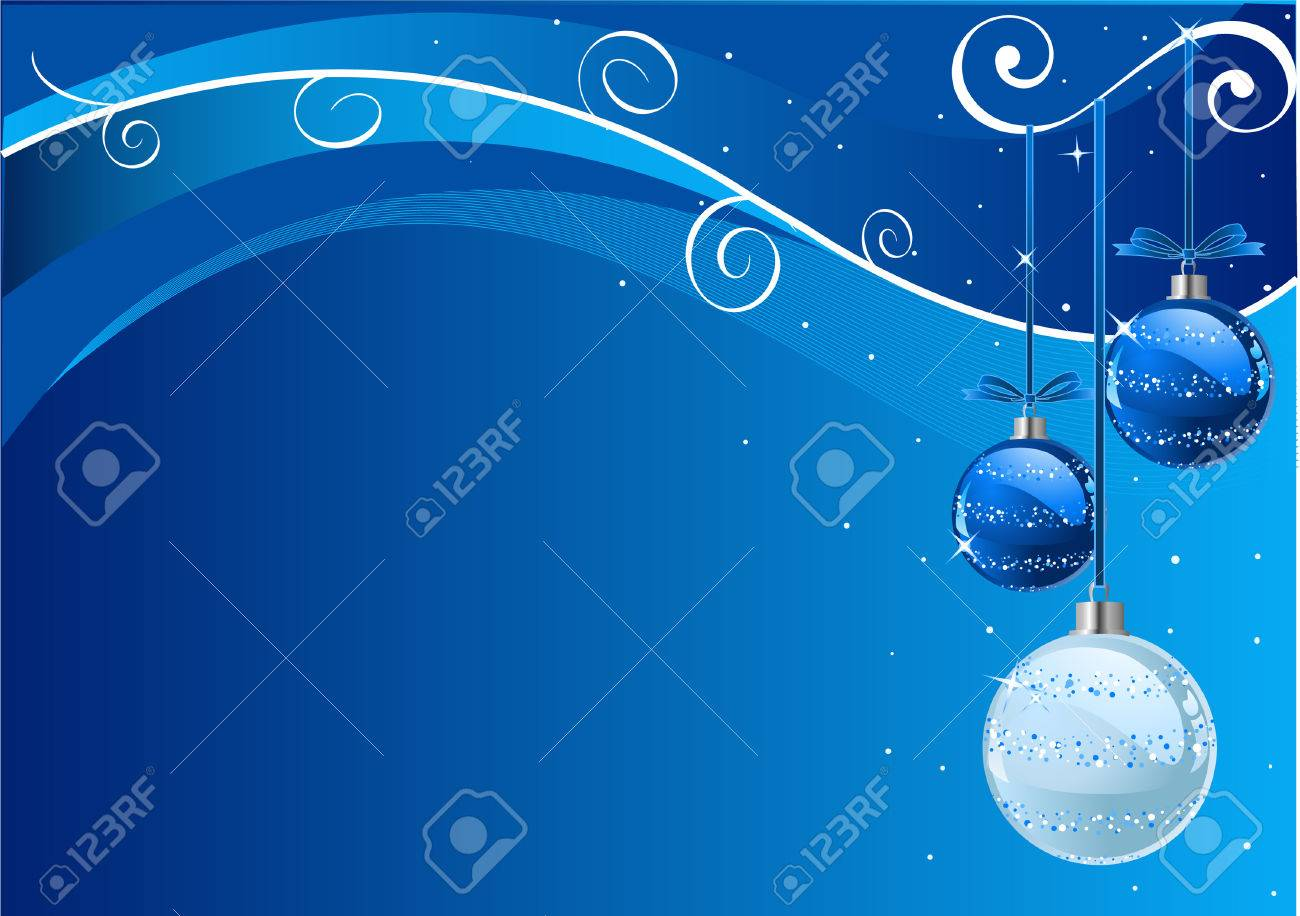 Blue Abstract Vector Christmas Background with balls Stock Vector - 6063424