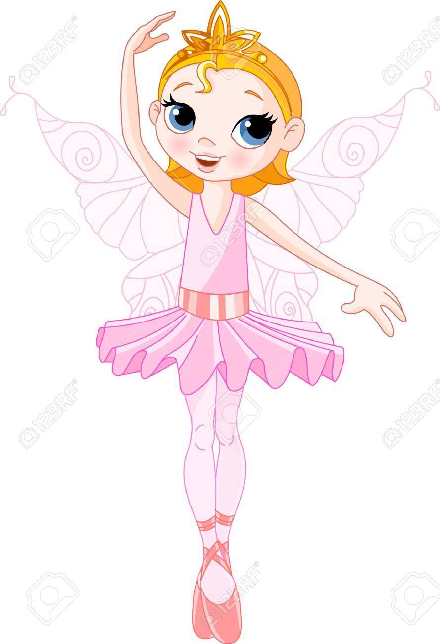 Vector Illustration of Little Cute dancing Fairy Ballerina Stock Vector - 6161344